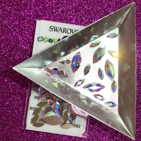 Mixed Pack of 15pc Swarovski Flatback Marquise Crystals, Non-Hotfix, Crystal AB